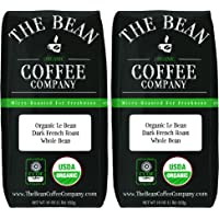 The Bean Coffee Company Organic Le Bean, Dark French Roast, Whole Bean, 16-Ounce Bags (Pack of 2)