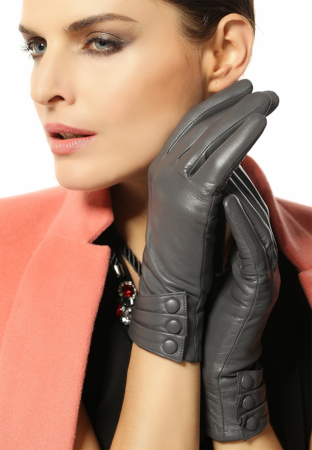 Warmen Women's Touchscreen Texting Driving Winter Warm Nappa Leather Gloves - 7 (US Standard size) - Grey (Touchscreen Function/cashmere Lining)
