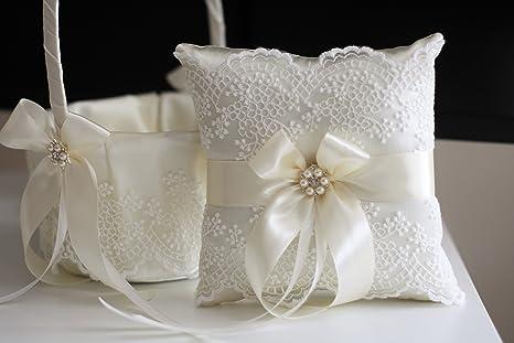 Boda flores niña cesta y marfil anillo portador almohada y ...