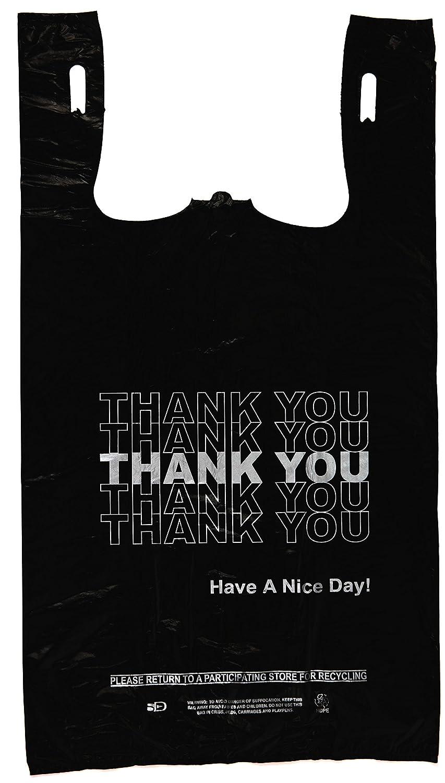 Black t shirt carryout bags 1000 ct - Amazon Com Plastic Bag Economy Thank You Silver Print Black T Shirt Bag 11 5 X 6 5 X 21 5 13 Mic 800 Bags Case Kitchen Dining