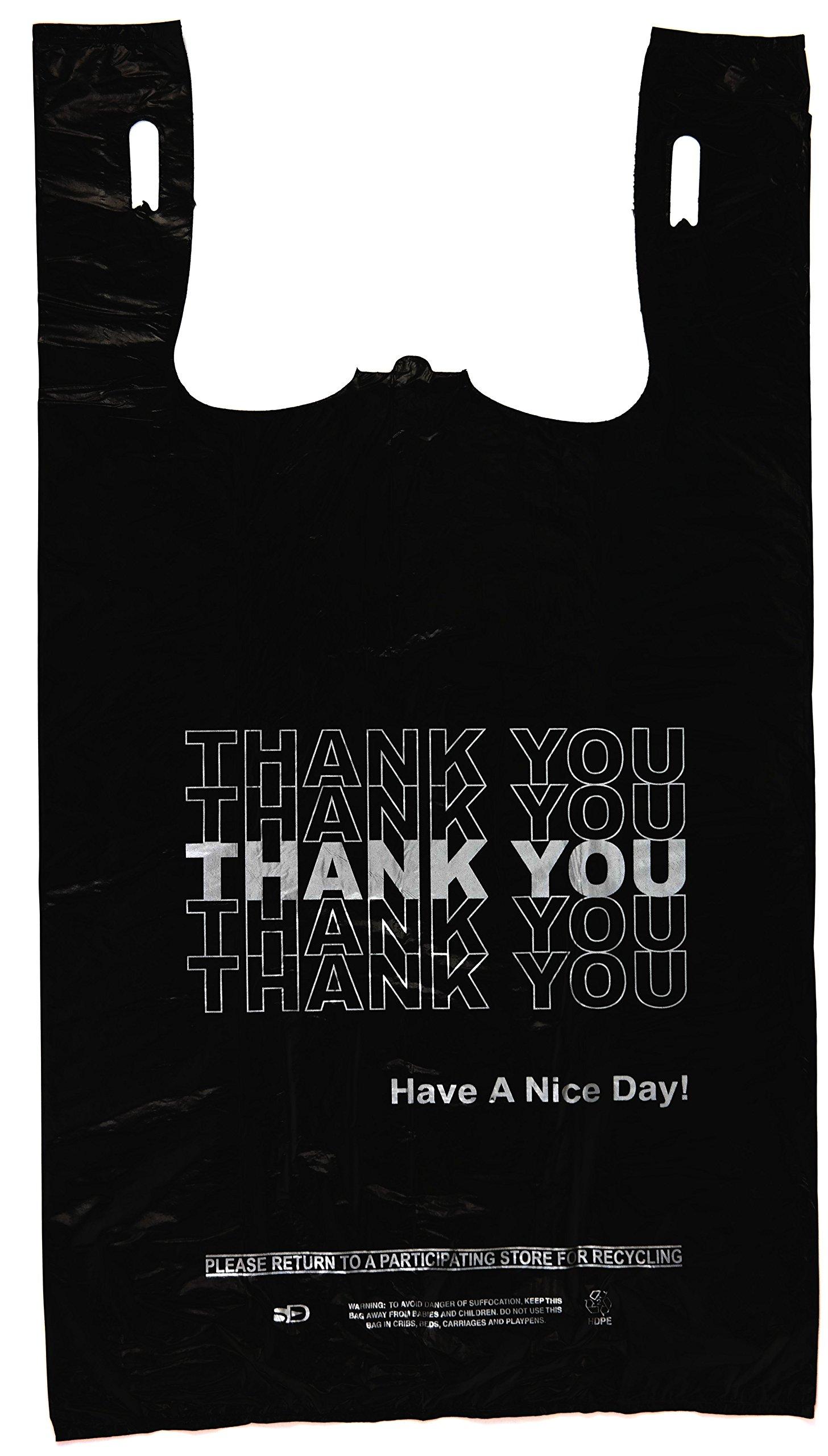 Plastic Bag- Economy 'Thank You' Silver Print Black T Shirt Bag 11.5''x 6.5''x 21.5'' 13 mic - 800 bags/case