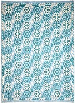 Kelim Afghan Himalaya 298x212 Tapis Oriental Bleuturquoise Tissé à