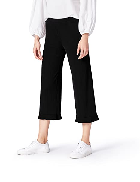 FIND Wide Leg Pantalones para Mujer, Negro (Black), 38 (Talla del