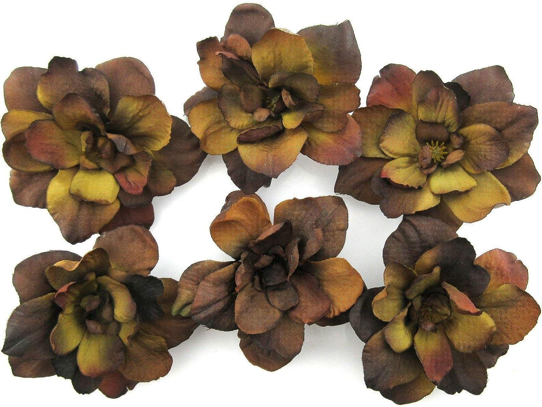 6 pc Lot Brown Apple Blossom Silk Flower Hair Clips