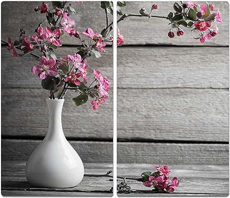 2x30x52 cm Herdabdeckplatten aus Glas Spritzschutz Blumen