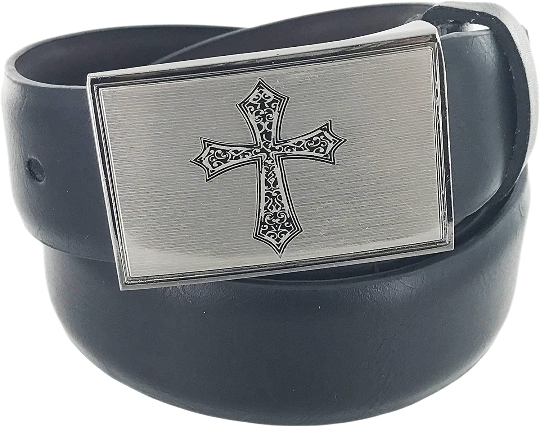 Faddism Mens Genuine Leather Belt Silver Sanded Face Holy Cross