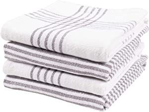 KAF Home Set of 4 Monaco Relaxed Casual Slubbed Kitchen Towel | 100% Cotton Dish Towel, 18 x 28 Inches | Soft and Absorbent Farmhouse Kitchen Towel | Set of 4 (Gray)