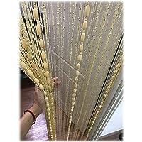 Eyotool Door String Curtain Flat Silver Ribbon Thread with Shaggy Tassel Room Divider, 39''x79'' (Beige-style2)