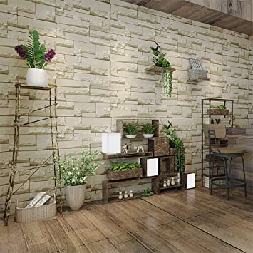 Vliestapete steinoptik küche  KINLO® Vliestapeten Stein 10M x 0.53M Retro Gelb aus hochwertigem ...