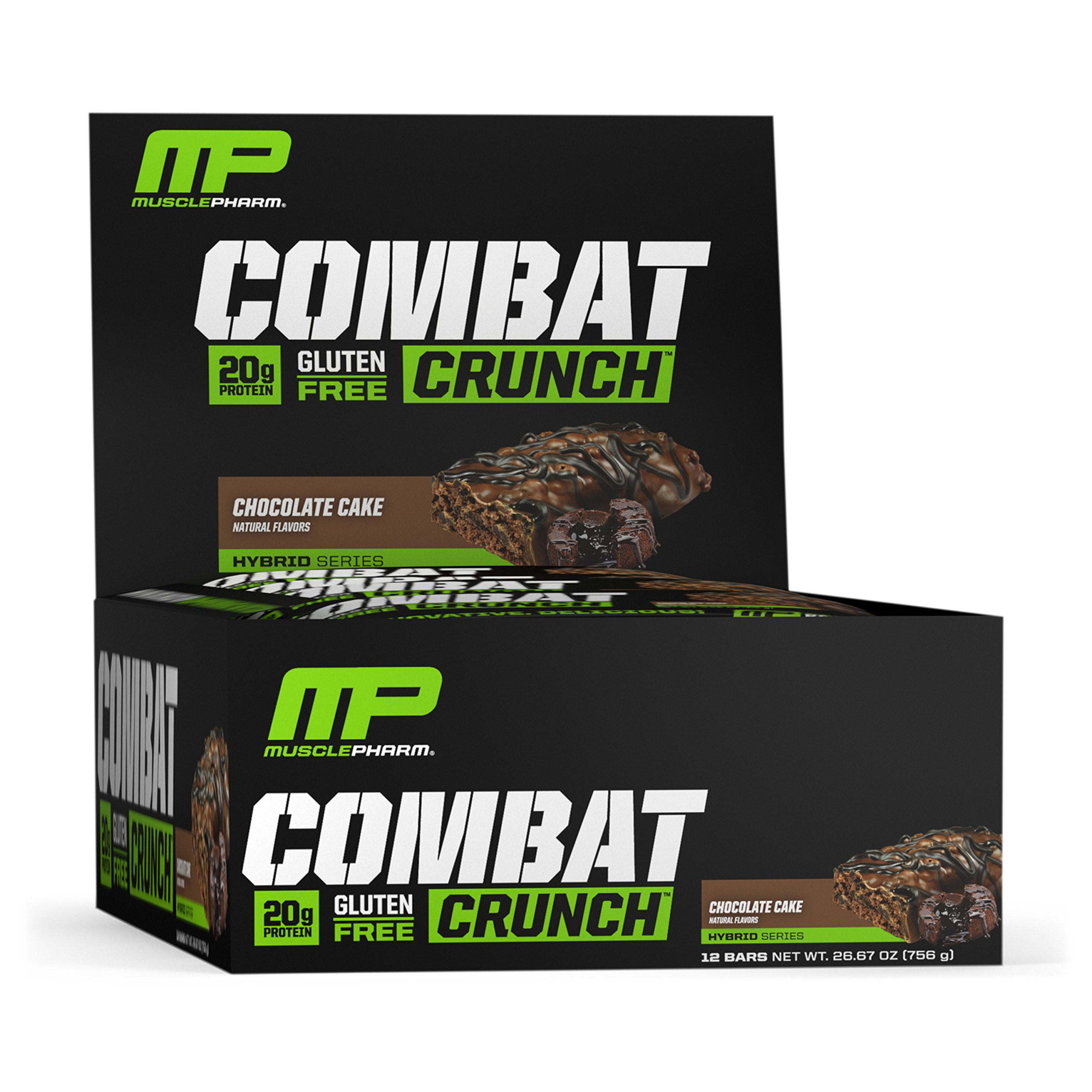 MusclePharm Combat Crunch Protein Bar, Multi-Layered Baked Bar, Gluten-Free Bars, 20 g Protein, Low-Sugar, Low-Carb, Gluten-Free, Chocolate Cake Bars, 12 Count by Muscle Pharm
