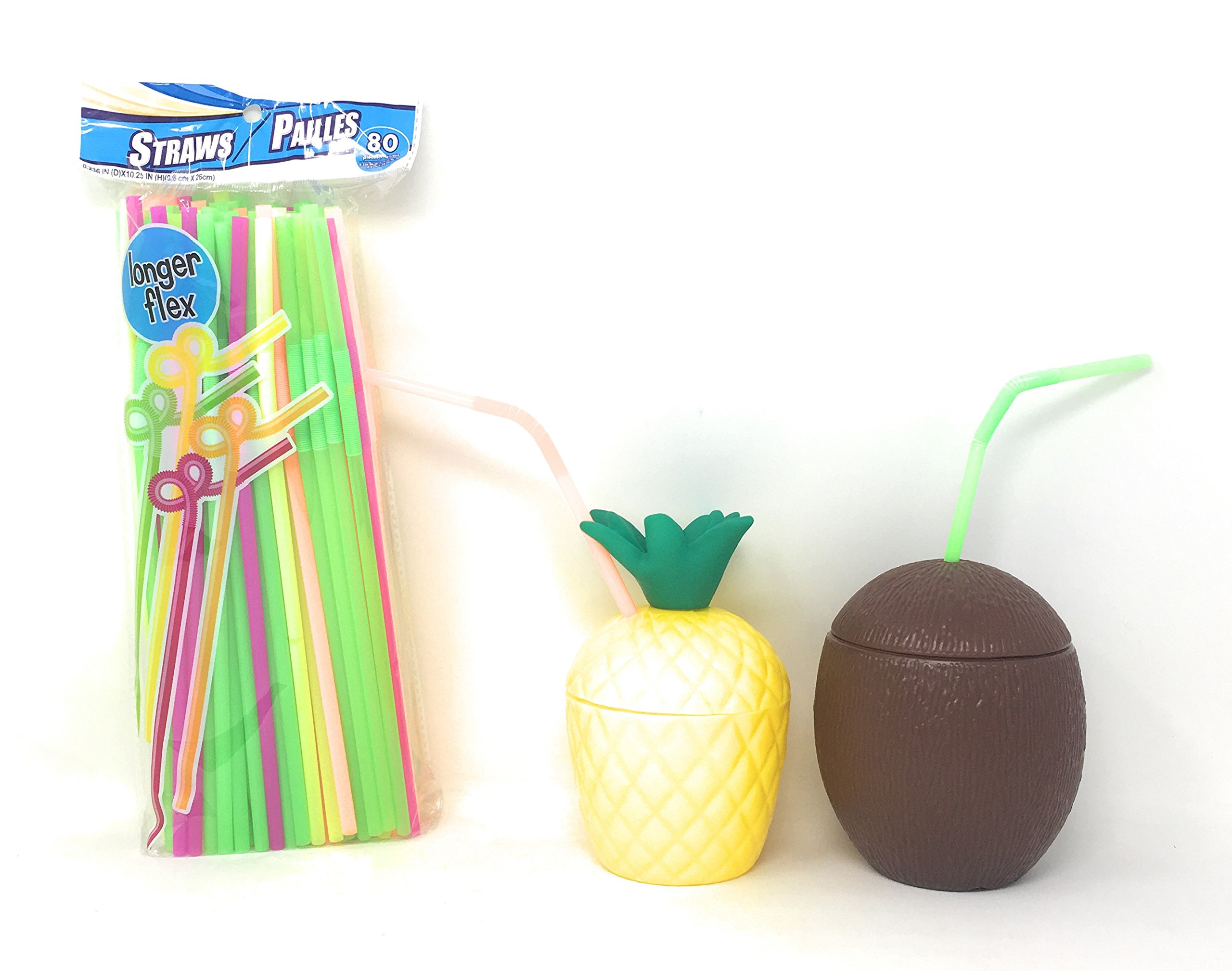 Luau Party Supplies Plastic Coconut and Pineapple Cups For Hawaiian Luau Beach Tiki Themed Parties With pack of 80 Neon Flex Straws– 6 of Each (12 Pack)
