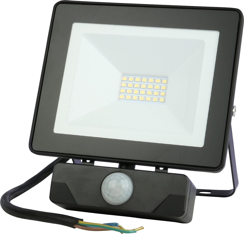 LED Flutlicht EMOS 30W / 2400 Lumen Fluter, Floodlight, Strahler, Scheinwerfer Außenstrahler mit Bewegungsmelder (PIR Sensor), staub- und wasserbeständig Schutzklasse IP54, schwarz [Energieklasse A+]