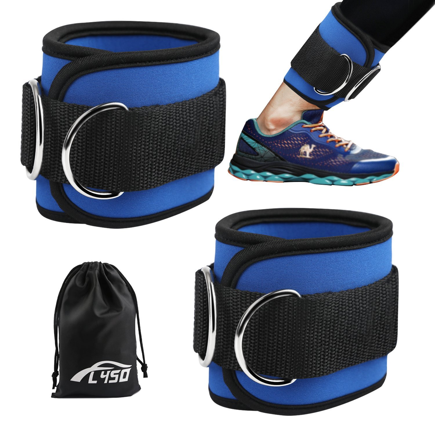 FLY5D Ankle Straps for Cable Machines with Resistance Band and Carry Bag double stitched, reinforced D-rings- Padded Ankle Strap for Weightlifting Leg Gym Workout, yoga, Ankle Cuffs(blue)