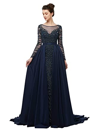 c5928e0ef4c CuteShe Women s Luxury Beaded Prom Dresses with Long Sleeves Formal Evening  Gowns Navy Blue Size 2