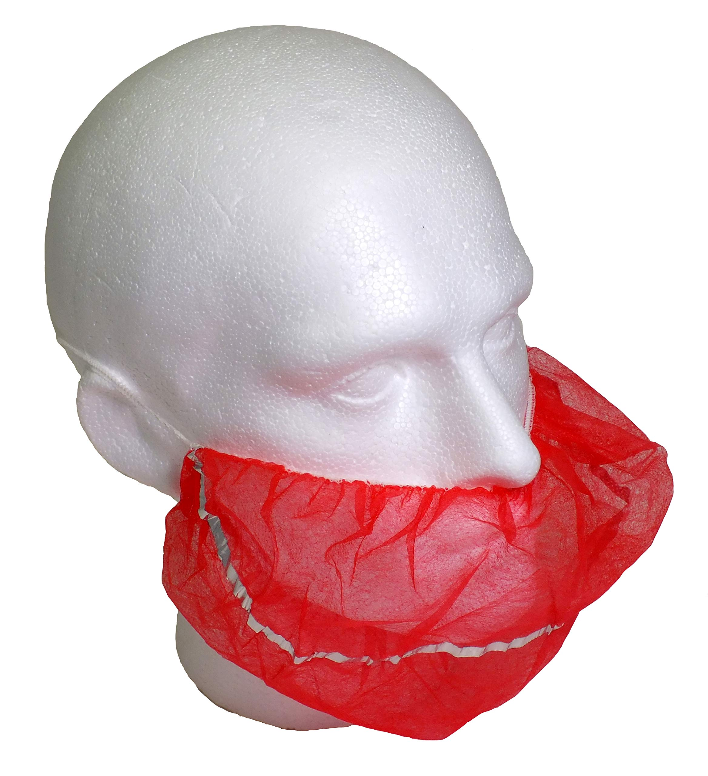 Detectable Non Woven Beard Cover Red Pack 500 by Detectamet Food Safe Detectable Products