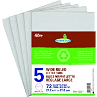 Hilroy Enviro-Plus Letter Pads, Wide Rule, 8-3/8 X 10-7/8 Inches, 72 Sheets, Pack of 5 (51745)