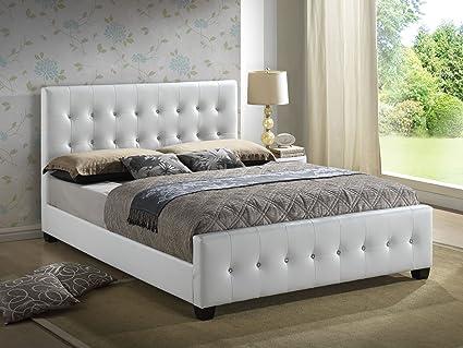 Amazoncom White King Size Modern Headboard Tufted Design - White-king-bed-frame