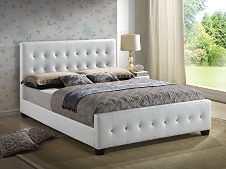 Amazoncom White Queen Size Modern Headboard Tufted Leather
