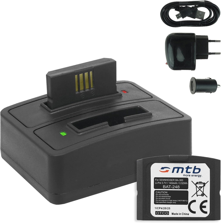 2X Baterías + Cargador Doble (USBCocheCorriente) BA 300 para Sennheiser RI 410 (IS 410), RI 830 (Set 830 TV), RI 830 S, RI 840 (Set 840 TV), RI 900,