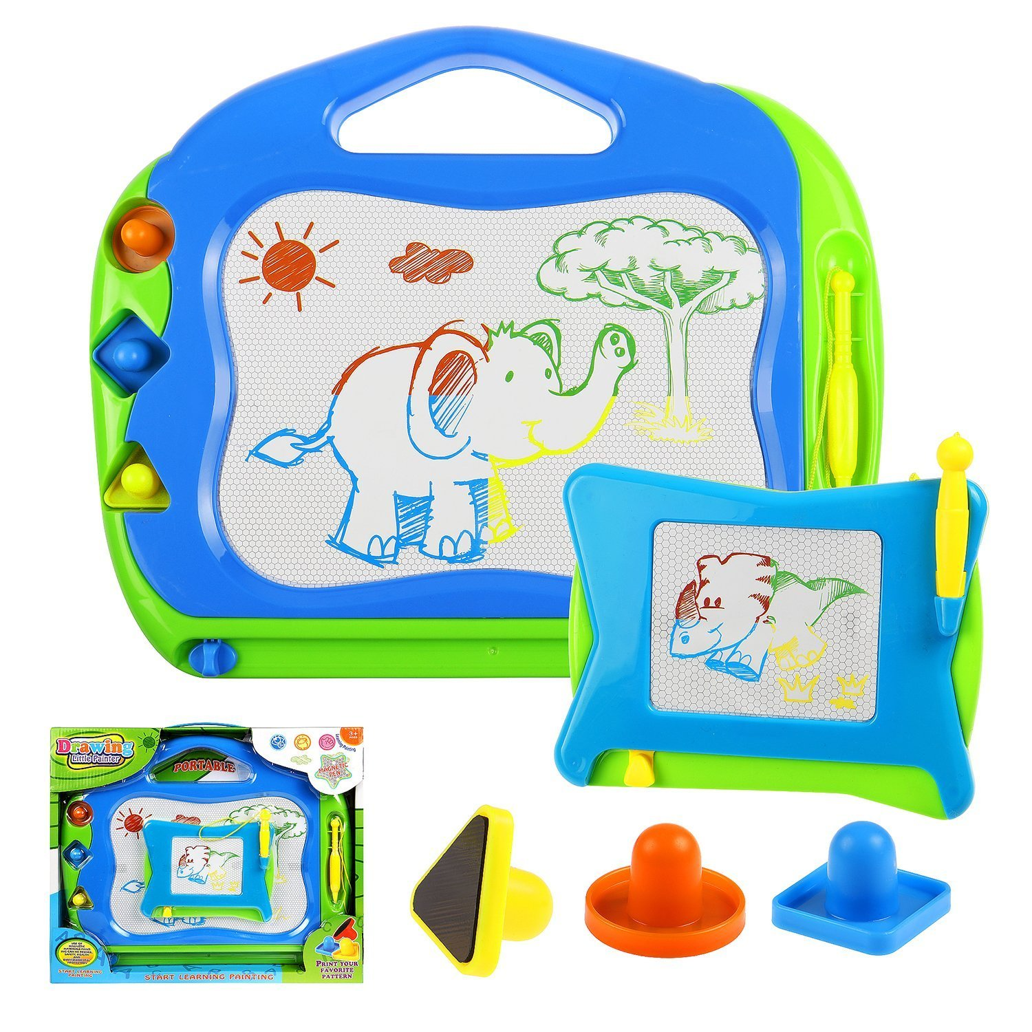 Toyssa 2 Magnetic Drawing Boards with Multi-Colors Drawing Areas Kids Drawing Doodle Board Erasable Writing Sketch Pad Travel games Educational Toys for Kids