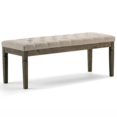 Simpli Home 3AXCOT-250-NL Waverly Tufted Ottoman Bench in Natural Linen Look Fabric