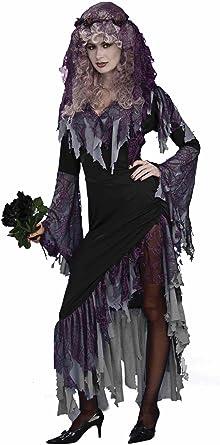 Ladies Dead Black Zombie Corpse Bride Fancy Dress Costume Outfit 8-30 Plus Size