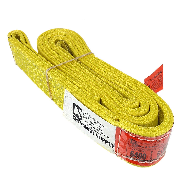 DD Sling (USA Made). 2'' wide X (4' to 20' lengths) in Listing! 2 Ply Twisted Eye, Nylon Lifting Slings, Eye & Eye, Heavy Duty (900 webbing), 6,400 lbs Vertical, 5,100 Choker, 12,800 Basket Load Capacity (2inX6ft) by DD Sling & Supply, Inc.