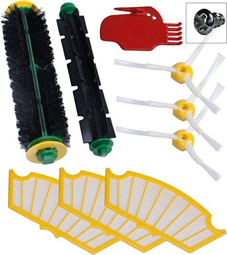 Kit de 3 filtres, 2 brossettes et 2 brosses robot Roomba