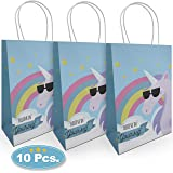 Unicorn Party Bags(10 Pack) Paper Bags with Handle. Large, Premium Quality 120 GSM Paper. Perfect Craft, Present Packaging, Unicorn Party Supplies, Event, Children Loot, Girls Treat Bag, Celebrations