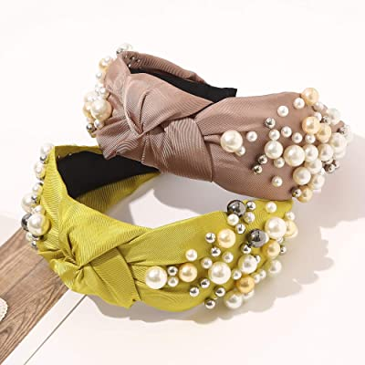 Details about  /Women/'s Fabric Bow Pearl Wide-brimmed Headband Fashion Headwear Hair Accessories
