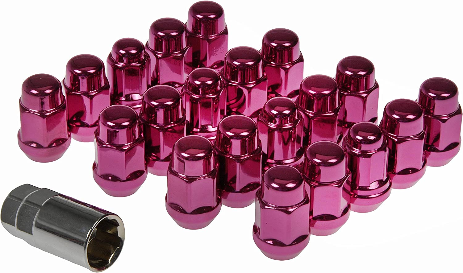 Dorman 711-235L Pack of 16 Pink Wheel Nuts and 4 Lock Nuts with Key