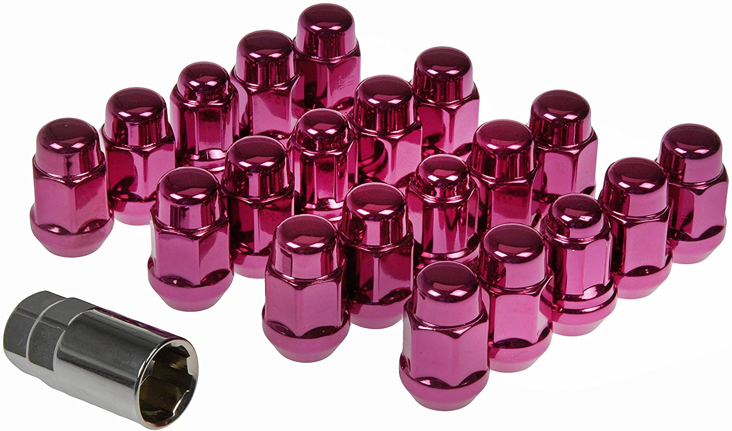 Dorman 711-335L Pack of 16 Pink Wheel Nuts and 4 Lock Nuts with Key