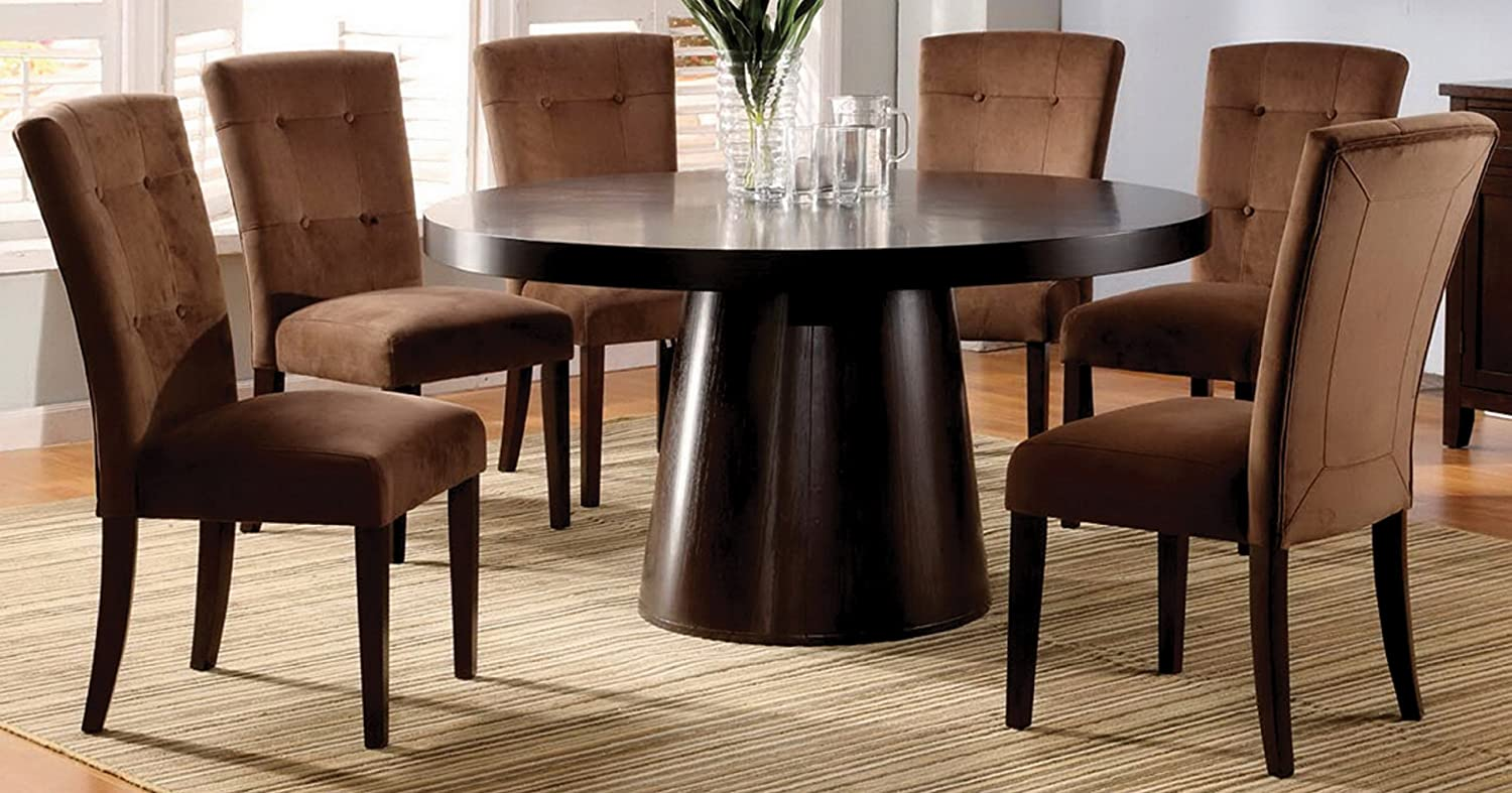 Amazon.com   Furniture Of America Primrose7 Piece Round Table Dining Set,  Espresso   Table U0026 Chair Sets
