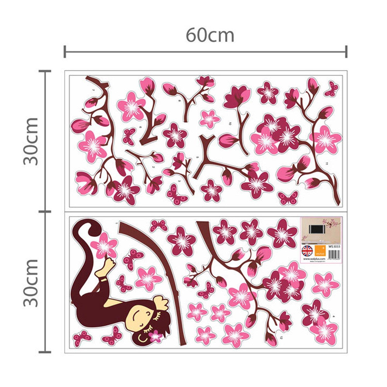Walplus Stickers muraux 3D pour chambre denfant Papillons//fleurs Rose