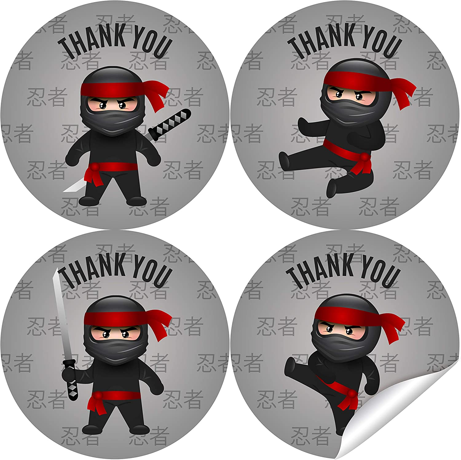 2 Inch Ninja Thank You Stickers - Ninja Birthday Party Labels Favors Decorations - 40 Stickers