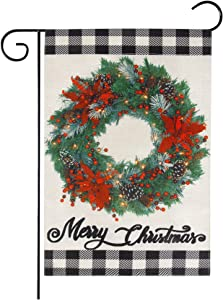 Roberly Christmas Garden Flag, White Black Buffalo Boxwood Wreath Christmas Flag, Double Sided Winter Garden Flag Merry Christmas Yard Flag for Farmhouse Outdoor Decoration (12.5