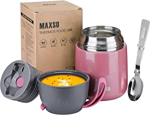Insulated Food Jar for Hot & Cold Food for Kids Adult 17 oz Soup Thermos Hot Food Containers for Lunch Insulated Lunch Box with Spoon Pink (1 Pack)