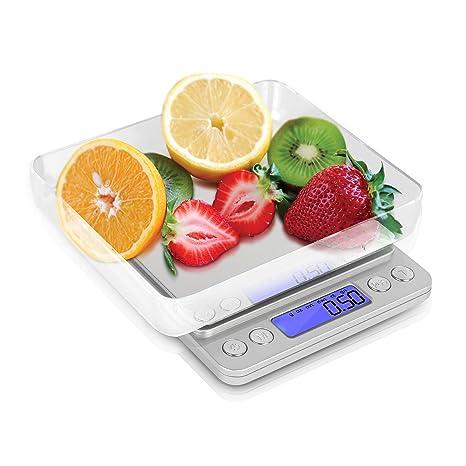 Kakuna Báscula Digital Báscula portátil diabéticos – Industrial con función de Tara hasta 2 kg para