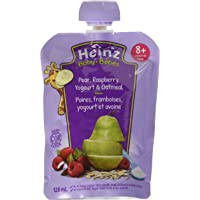 Heinz Baby Pear, Raspberry, Yogourt & Oatmeal, 128mL Pouch, 6 Count