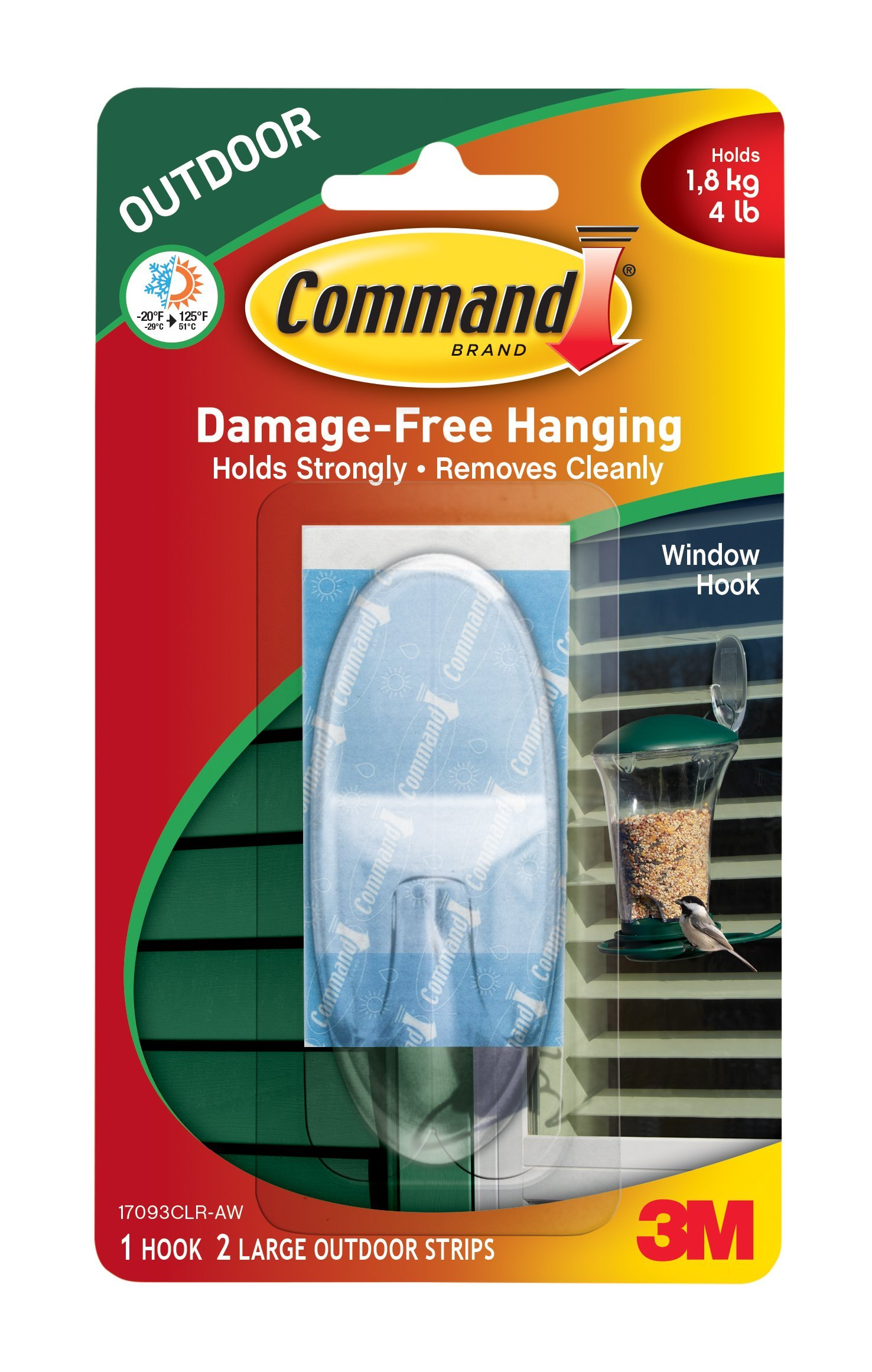 Command Outdoor Large Window Hook QDL3F, Clear, 3-Pack