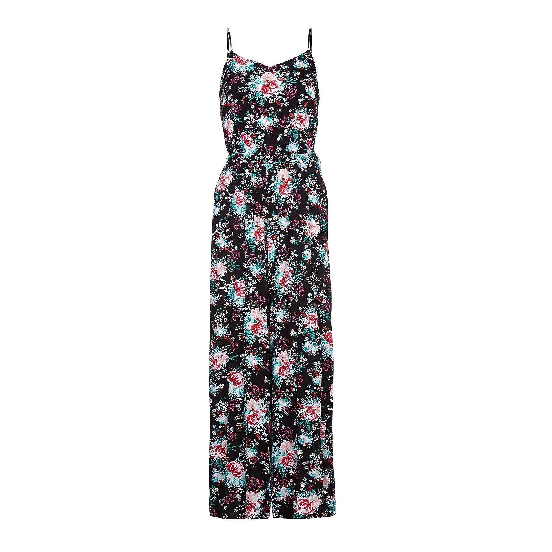 7232eb15629 Yumi Womens Ladies Flower Print Jumpsuit (6 UK) (Black)  Amazon.co.uk   Clothing