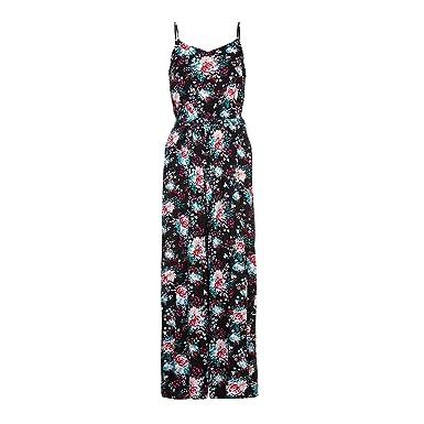 9554501c4a2 Yumi Womens Ladies Flower Print Jumpsuit (6 UK) (Black)  Amazon.co ...