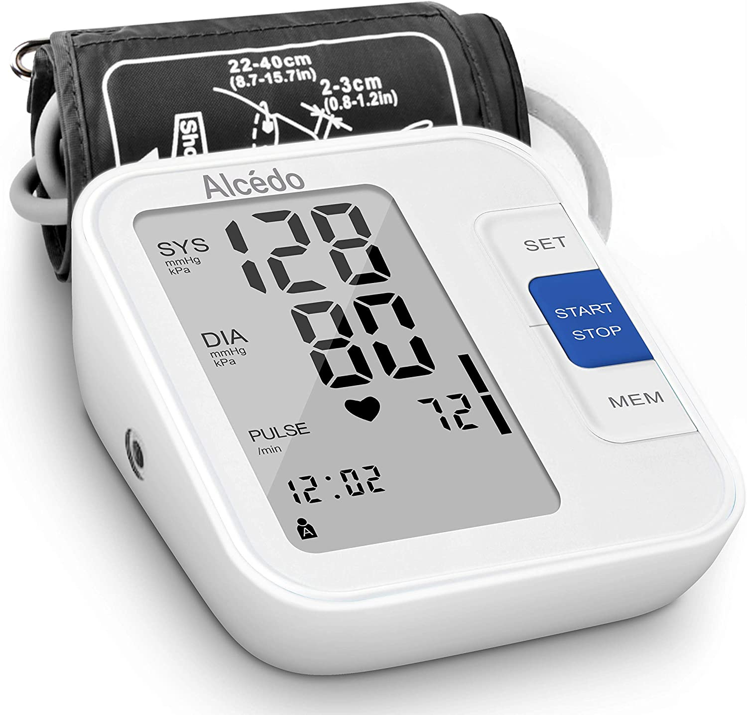 Blood Pressure Monitor Upper Arm by Alcedo Automatic Digital BP Machine with Wide-Range Cuff for Home Use Large Screen, 2×120 Reading Memory, Talking Function FDA Approved