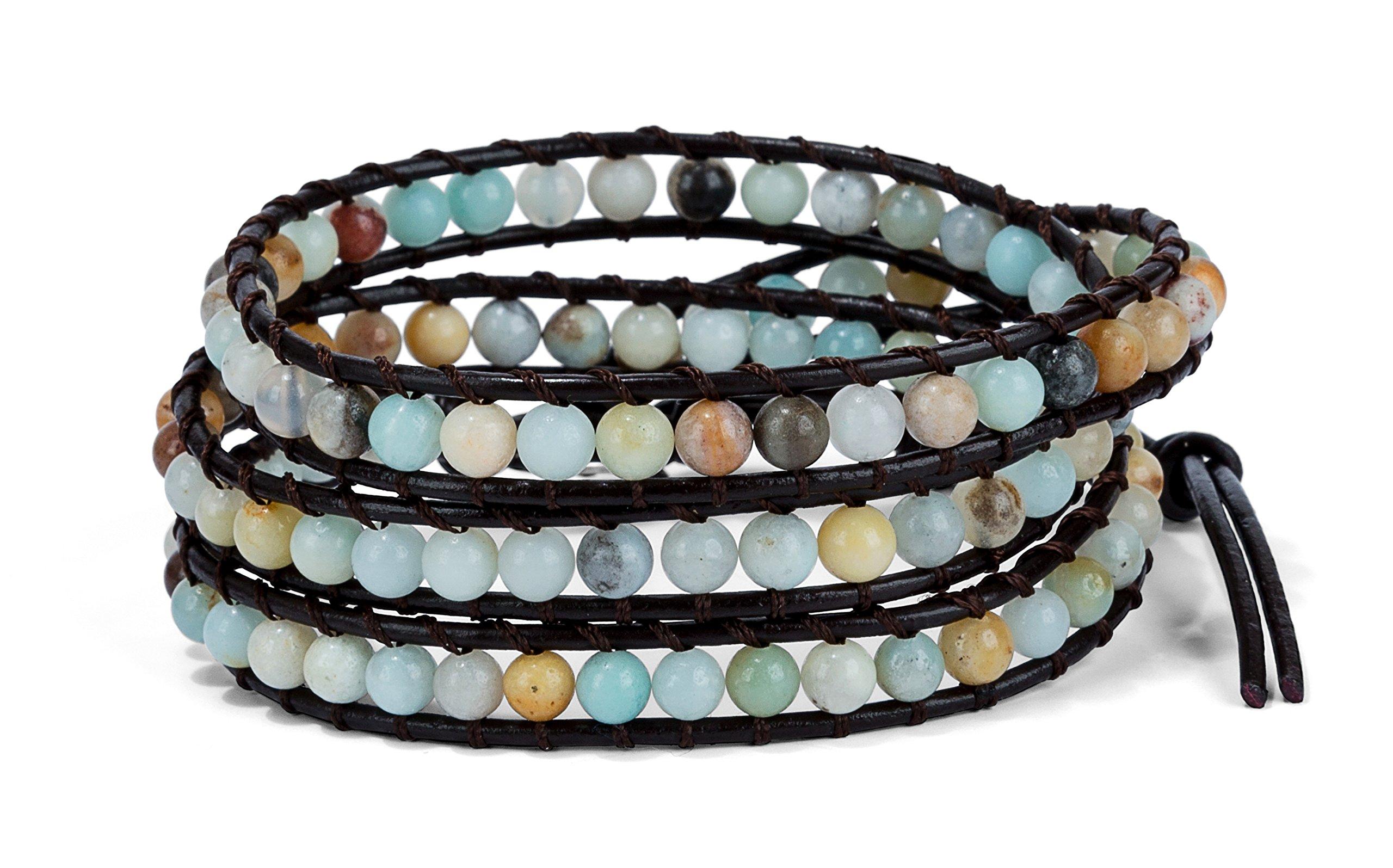 SPUNKYsoul 3 Wrap Boho Bracelet 6mm Beads Natural Stone Amazonite for Women Collection by SPUNKYsoul