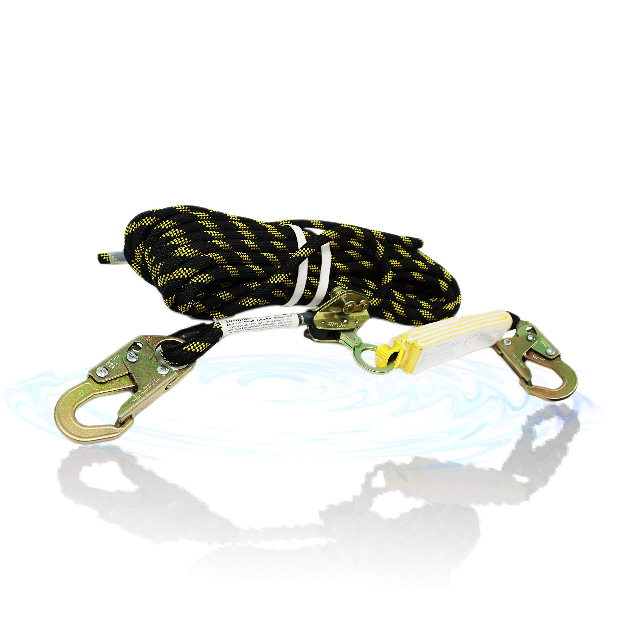 KwikSafety (Charlotte, NC) TSUNAMI Vertical Lifeline Assembly (HEAVY DUTY BRAIDED ROPE) 100 ft. Rope Grab Snap Hook External Shock Absorber ANSI OSHA Fall Arrest Restraint Protection Safety Equipment by KwikSafety