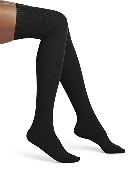 30885c3b5963b HUE Women's Ribbed Over The Knee Socks, Black One Size at Amazon Women's  Clothing store: