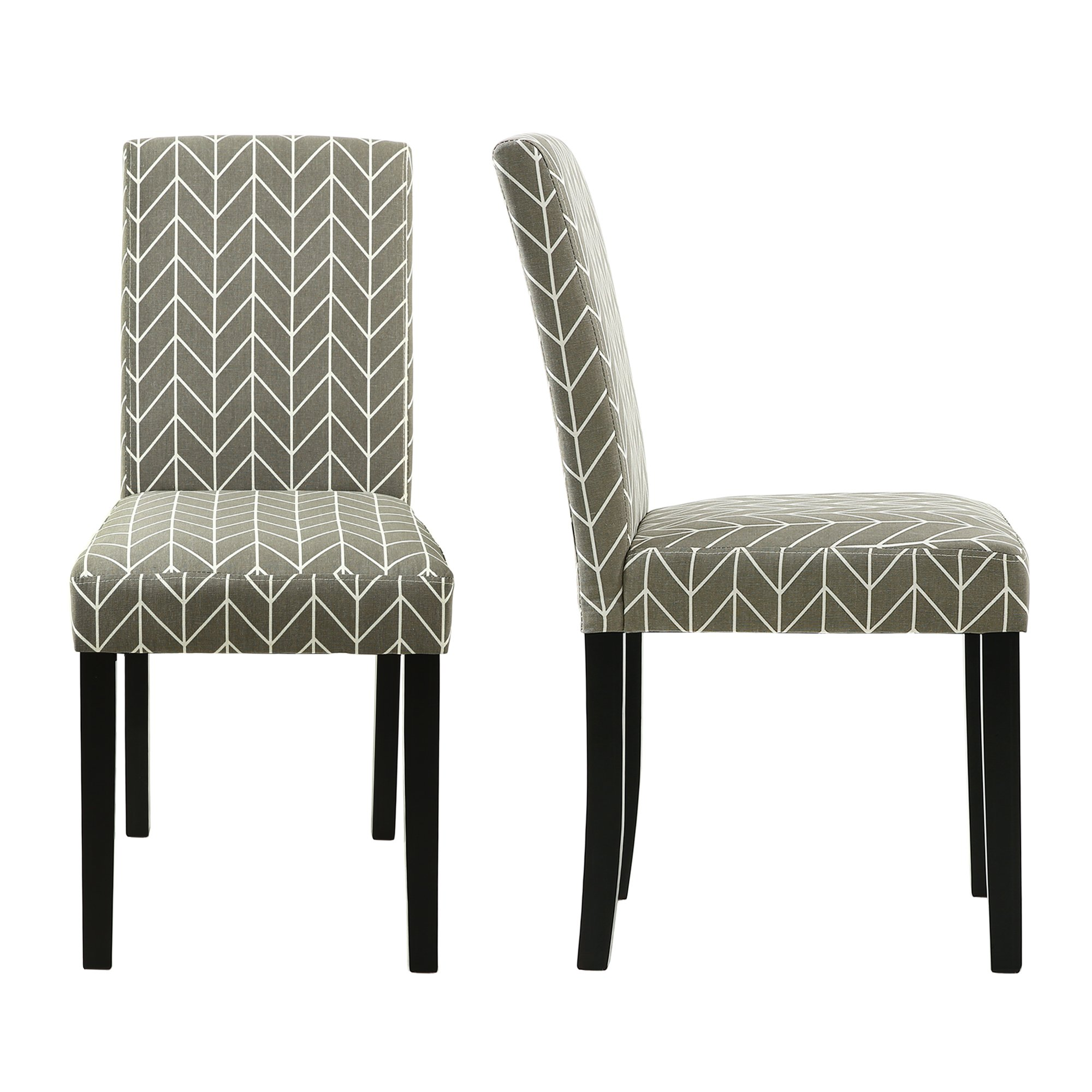 LSSBOUGHT Set of 2 Urban Style Fabric Dining Chairs With Solid Wood Legs (Arrow)