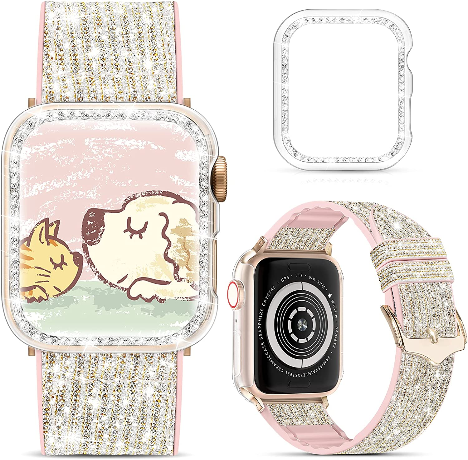 Marge Plus Compatible with Apple Watch Band 38mm 40mm 42mm 44mm with Case, Glitter Strap for Women, Sweatproof Genuine Leather and Silicone Band for iWatch Series 6/5/4/3/2/1 SE(38mm, Glitter Silver/Rose Gold)