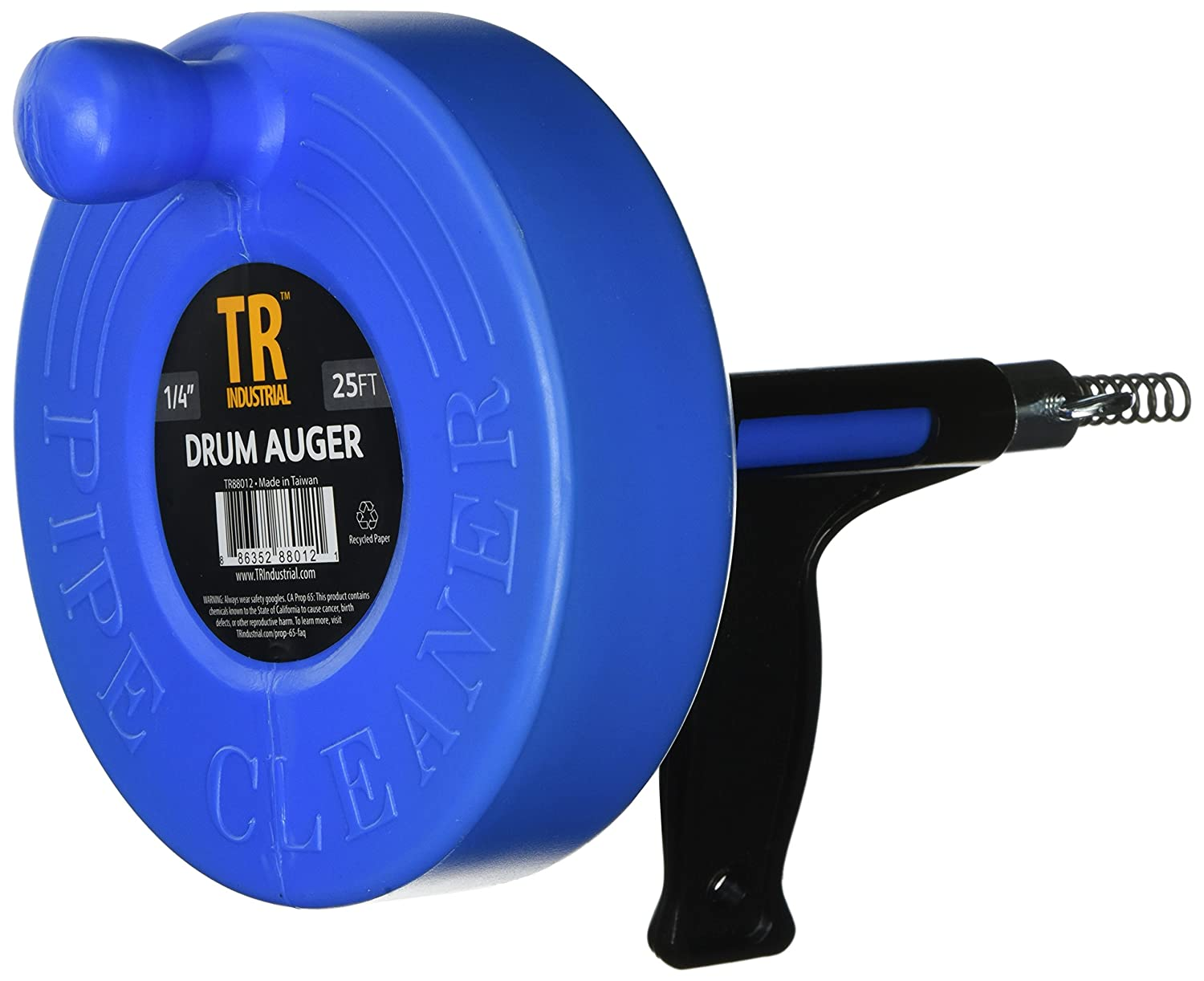 TR Industrial 8012 Drum Auger for Plumbing with 1/4 x 25' Spring Cable Capri Tools