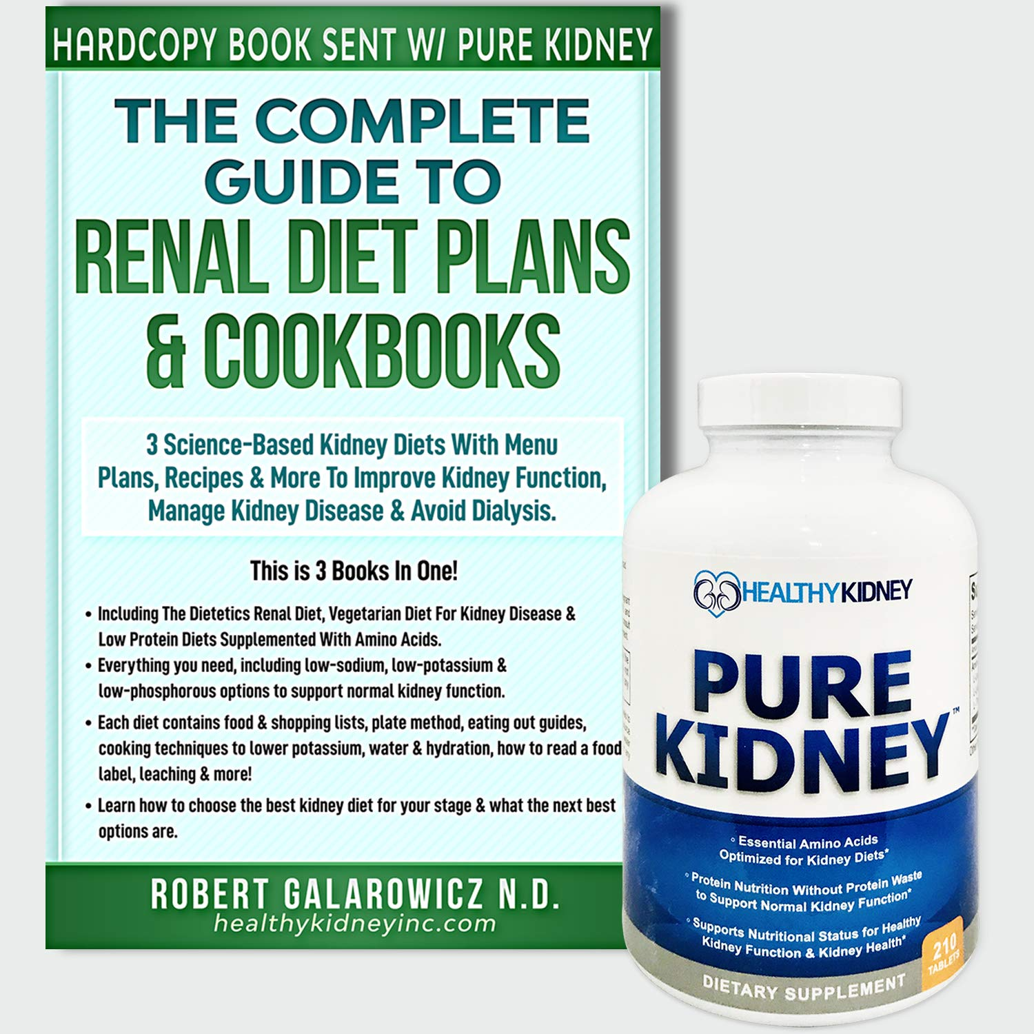 Pure Kidney Supplement an Complete Guide to Renal Diet Plans and Cookbooks. 3 Kidney Diet Books in One an Kidney Health Supplement for Supporting Normal Kidney Function, Kidney Cleansing Pills by Kidney Restore
